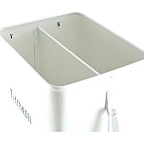 Vit plåtburk, med 2 fack och skopa, Tvättmedel