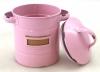 Plåtburk med etikettfack, 50-tal, tättslutande, rosa