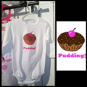 "Body med egendesignat Cupcaketryck - ""Pudding"""