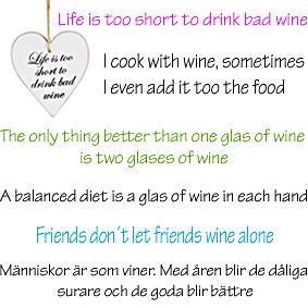 Hjärtan med vin-texter, välj text!