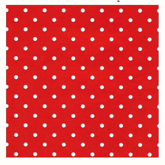 Rött/vitprickigt papper med rödvita band
