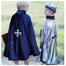 Cape, vändbar - Blå sammet/silvertyg