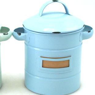 Plåtburk med etikettfack, 50-tal, tättslutande, blå