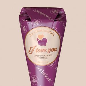 """""""I LOVE YOU"""", Strut med text, Åre Choklad"""