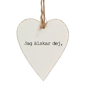 """Hjärta """"Jag älskar dig"""" presentlapp, trä"""
