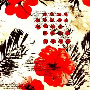 Presentpapper, Röd blom - metervara