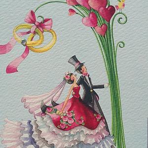Bröllopspar, Exklusivt Gollongkort, dubbelt med kuvert