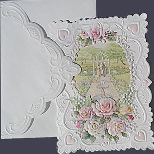 Bröllop i trädgård, dubbelt med spetskuvert