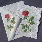 Kort + kuvert med Ros och relief