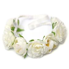 Hårband, elastiskt - vita blommor
