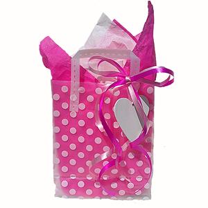 Färdig Presentpåse med band, tag, silkespapper. Hot Pink.