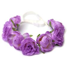 Hårband, elastiskt - lila blommor