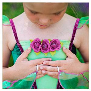 Klänning, blomsterälva, grön/rosa