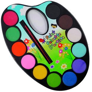 Vattenfärger, palett 12 st med pensel