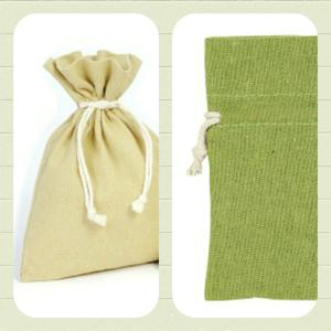 Bomullspåse present/förvaring/Doft mm. Grön.