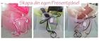 Presentpåse frostad plast, med handtag & tag