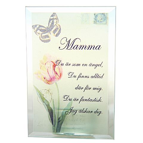 Glasplakett, 3D med värmeljushållare på baksidan - Mamma