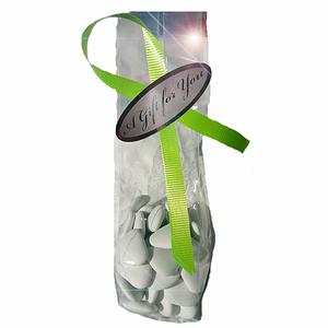 Cellofanpåse med band och etikett, silver/lime