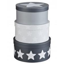 Pappboxar, 3-pack, Star, Grå, svart, vit