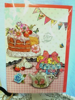 Kort Tårtkalas, dubbelt med kuvert